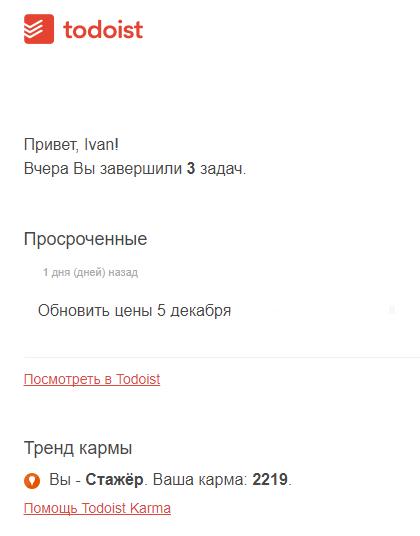 Todoist письмо на email